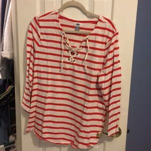 Like new Old Navy red&white striped shirt